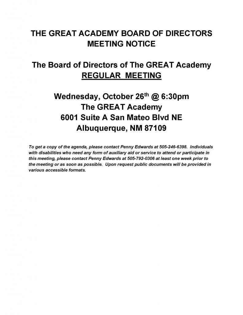 Tga Board Of Directors Meeting Notice 10 26 2016 187 The